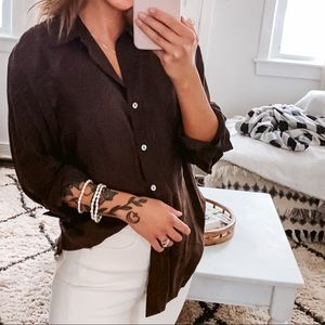 Anne Carson 100% Silk Brown Button Up Blouse